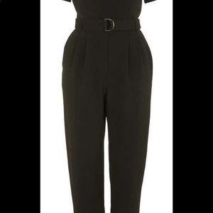Topshop Black Judo Wrap Jumpsuit Pant Suit
